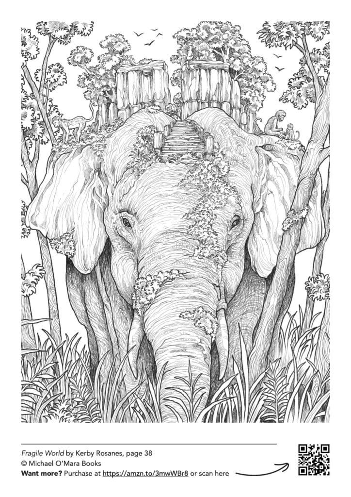 Elephant adult colouring page from Fragile World