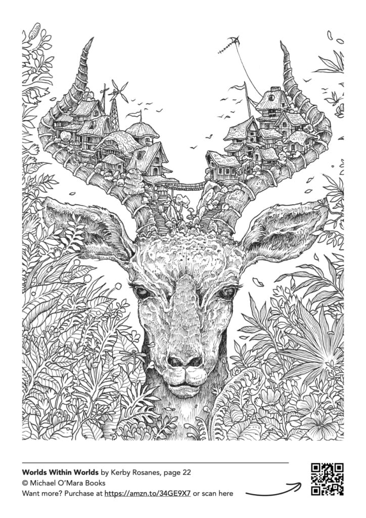 A free downloadable adult colouring page from Worlds Within Worlds by Kerby Rosanes