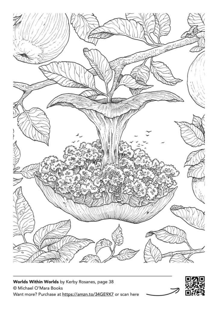 Free downloadable adult colouring page from Worlds Within Worlds by Kerby Rosanes