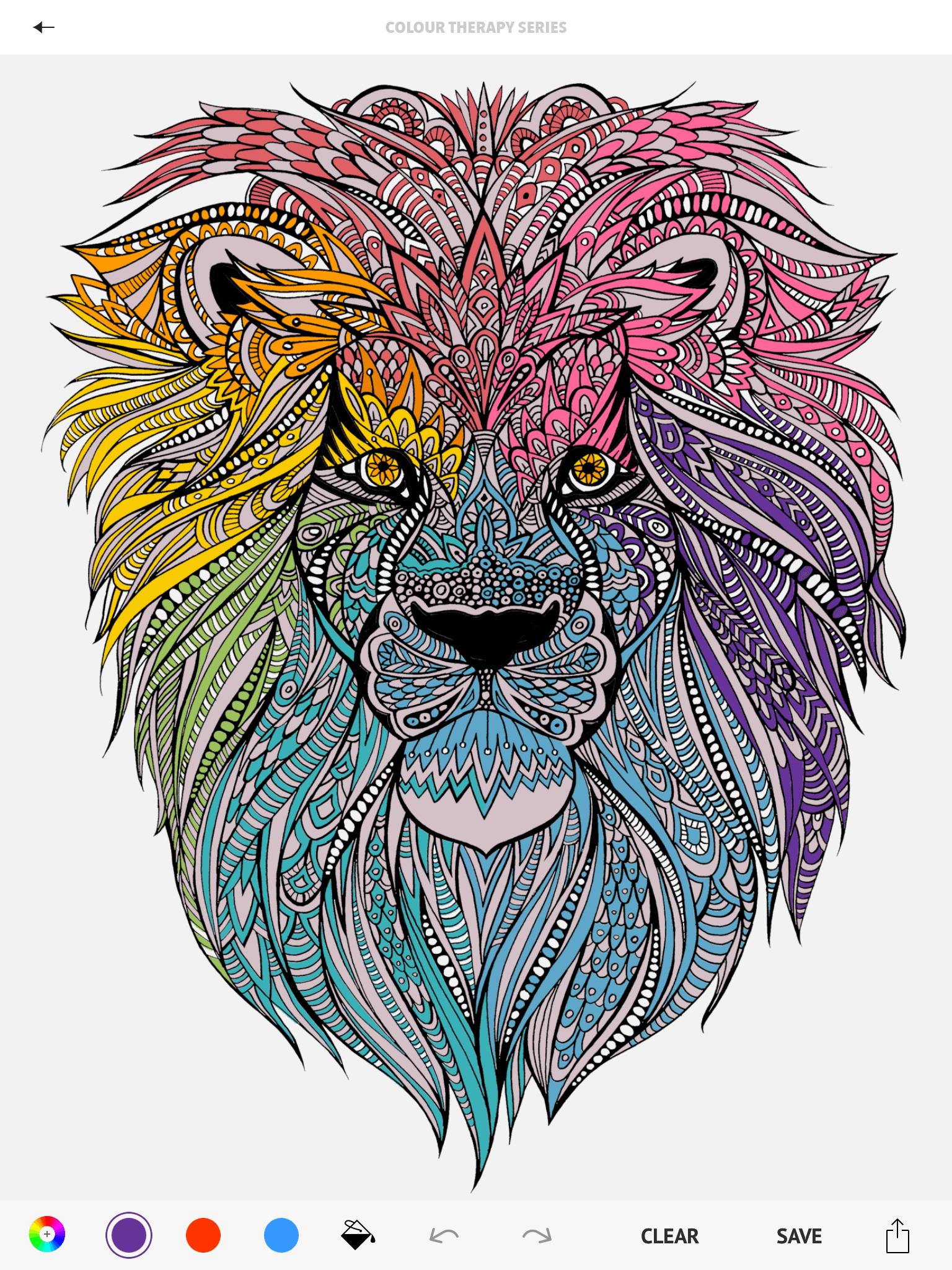Lion Page From The Colour Therapy Adult Colouring App
