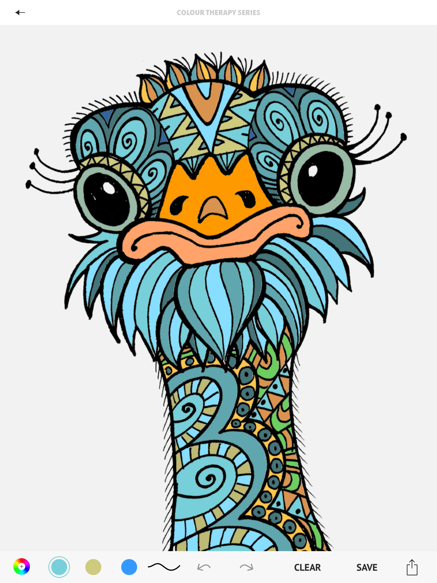 Ostrich Page From The Colour Therapy Adult Colouring App Michael Omara Books