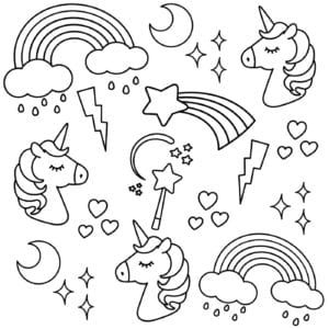 unicorn colouring book pages 1 300x300