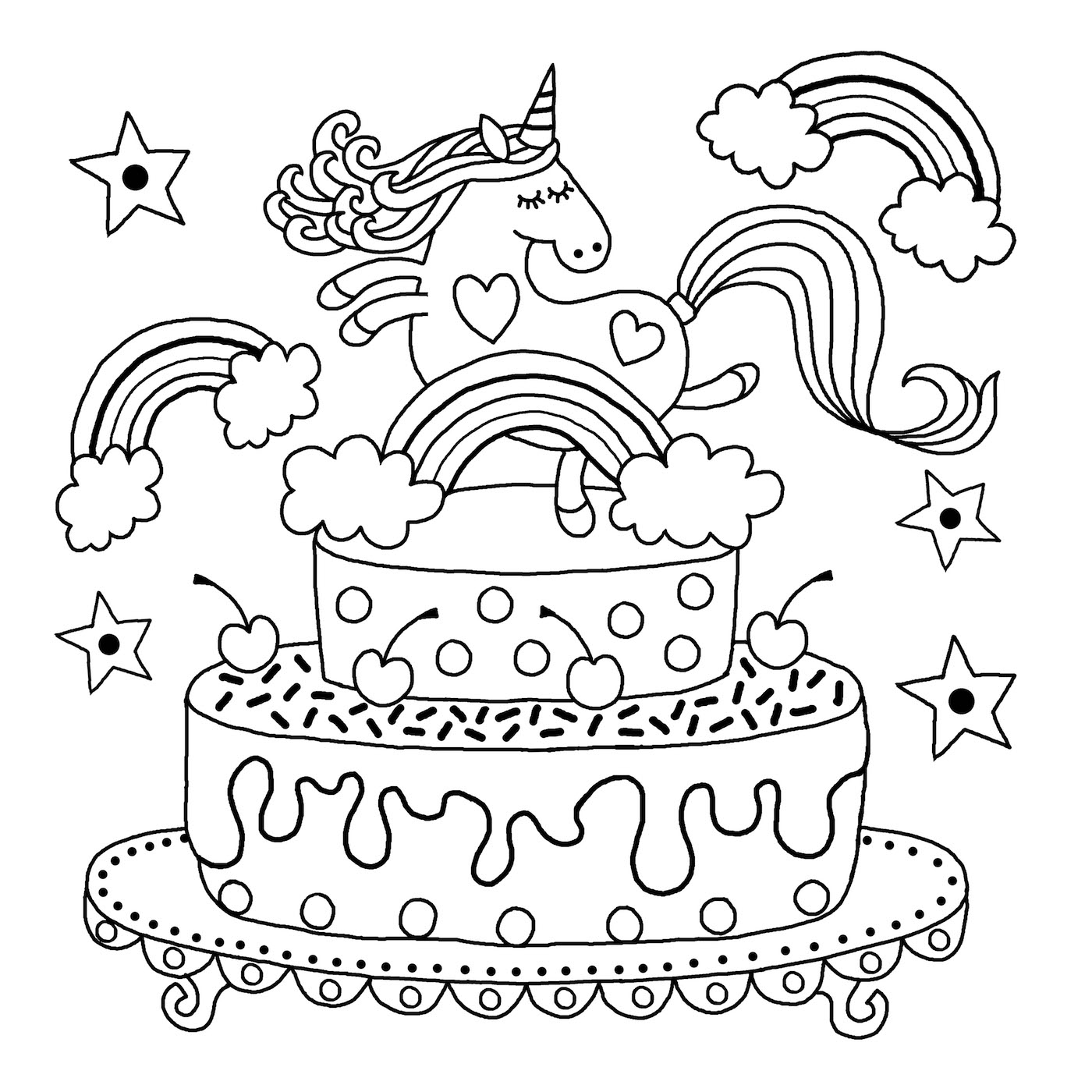 Playful image with regard to printable unicorn colouring pages
