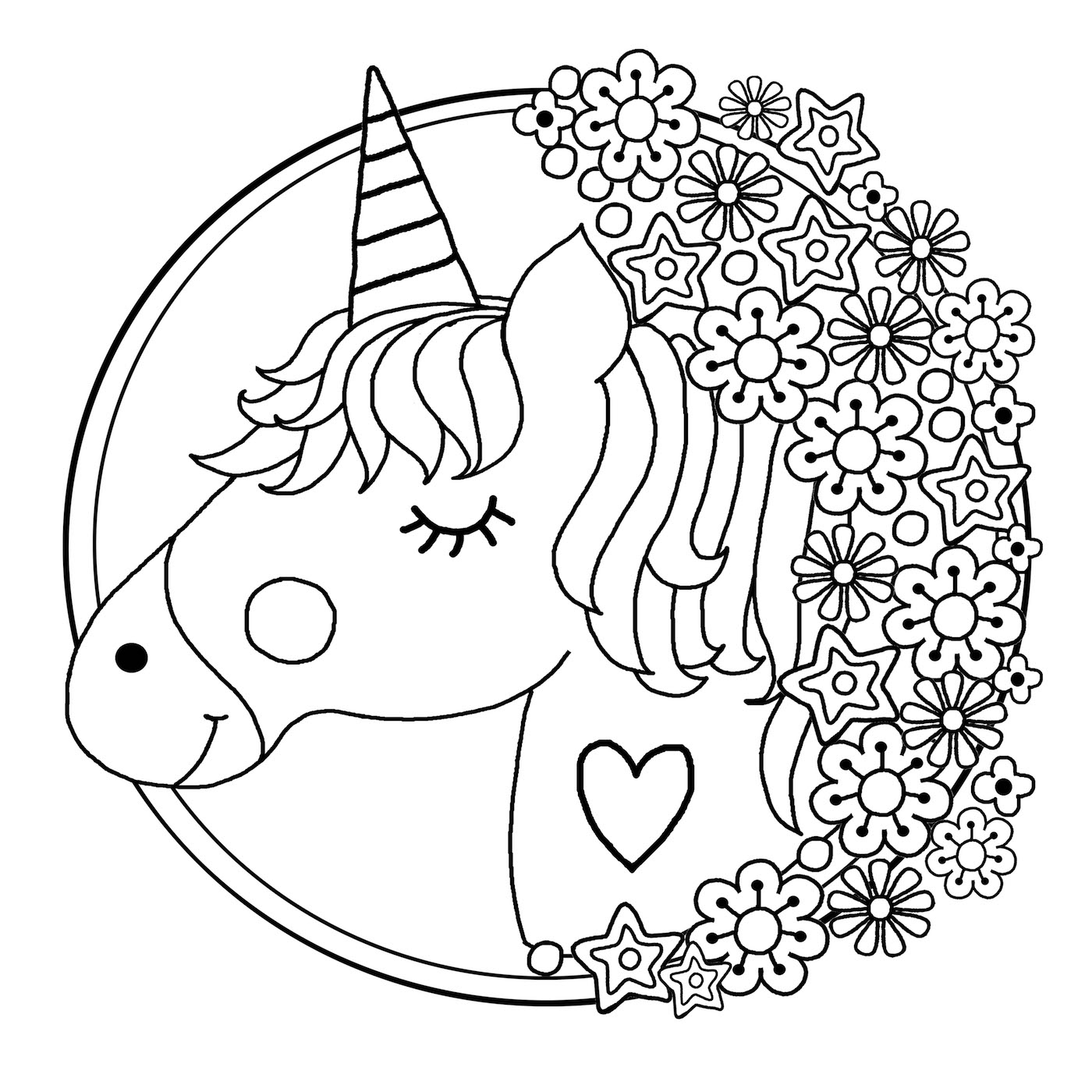 Adorable image with printable coloring pages unicorn