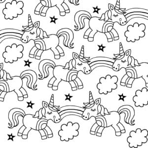 Downloadable colouring page from the I Heart Unicorns colouring book