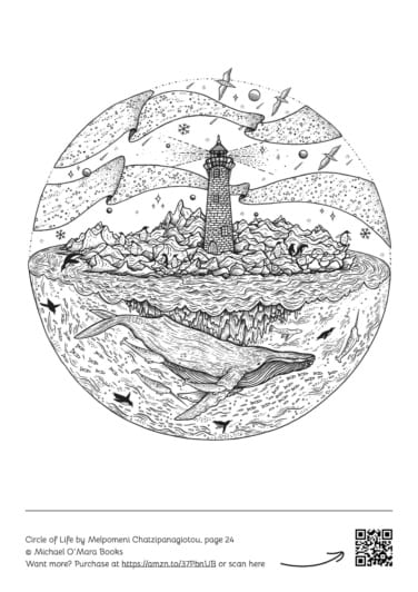 Whale adult colouring page